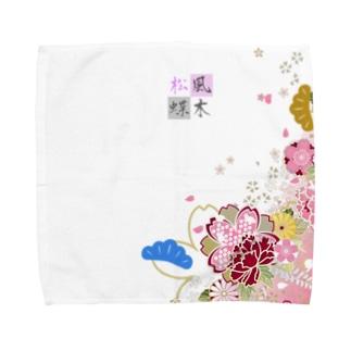 松蝶風木 和風デザイン Towel handkerchiefs