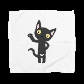 ザ・ワタナバッフルの白いおパンツなクロニャンコ Towel handkerchiefs