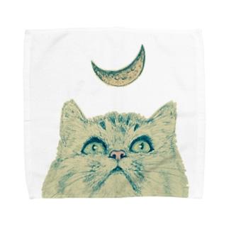月と猫 Towel handkerchiefs