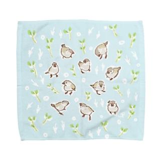文鳥の赤ちゃん(桜文鳥) Towel handkerchiefs