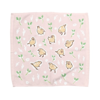 文鳥の赤ちゃん(シナモン文鳥) Towel handkerchiefs