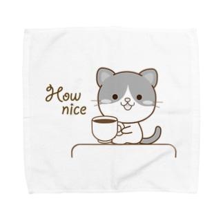 黒白猫のシンプルモノトーン Towel handkerchiefs
