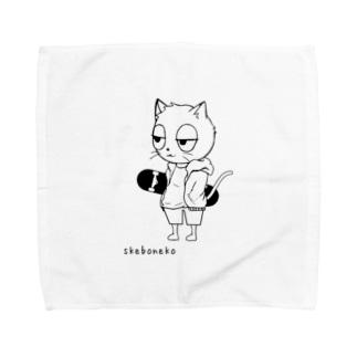 スケボーねこ Towel handkerchiefs