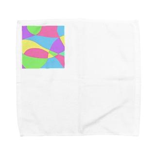 真四角パステルパターン Towel handkerchiefs
