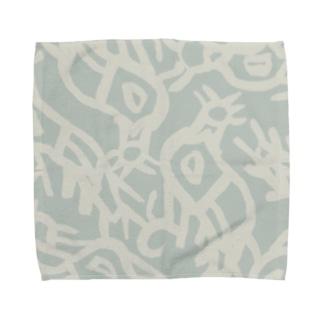 鳥 tori-pattern-smokeblue Towel handkerchiefs