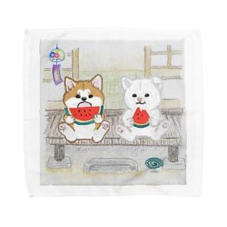 縁側の秋田犬 Towel Handkerchief