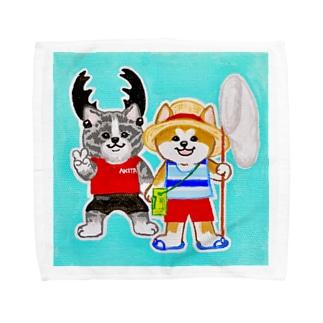 ボク達の夏休み 秋田犬 Towel handkerchiefs