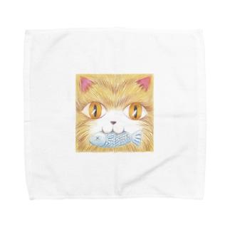 魚をくわえた猫 Towel handkerchiefs