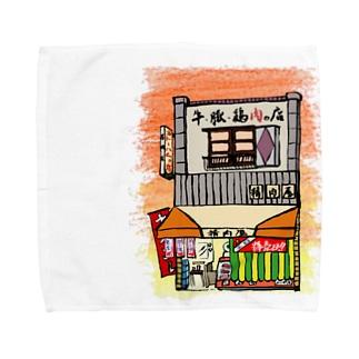 精肉店いろどり 背景あり Towel handkerchiefs