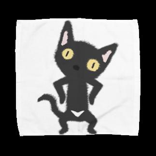 ザ・ワタナバッフルの 白いおパンツなクロニャンコ Towel handkerchiefs