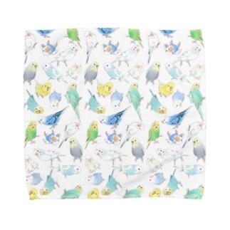まめるりはことりのたくさんセキセイインコちゃん【まめるりはことり】 Towel handkerchiefs