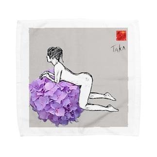 花・女1 FLOWER・WOMAN1 Towel handkerchiefs