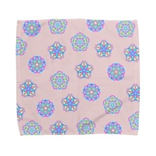 万華鏡花火:和花:桃大 Towel handkerchiefs