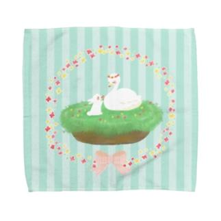うさぎちゃんとスワンちゃん Towel handkerchiefs