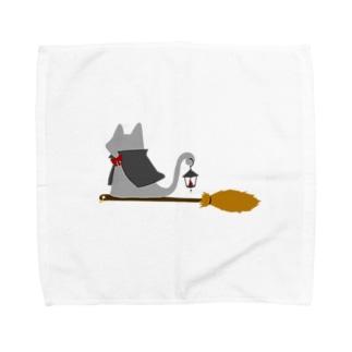 マント猫(箒ランプ) Towel handkerchiefs