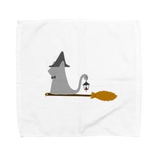 とんがり帽子猫(箒ランプ) Towel handkerchiefs