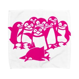 ペンギン切り絵(ピンク) Towel handkerchiefs