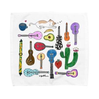 オヒルネニャンコ、ウクレレイロトリドリ(Lサイズ) Towel handkerchiefs