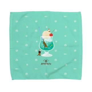 カワウソとクリームソーダ Towel handkerchiefs