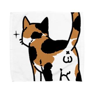 ねこけつω(三毛猫、アップ) Towel handkerchiefs