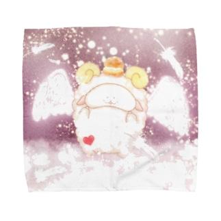 《イラスト13》*てんしなひつじ*ピンク Towel handkerchiefs