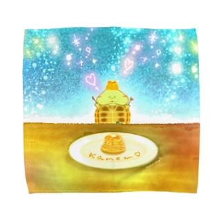 《イラスト14》*かめくんとパンケーキ* Towel handkerchiefs