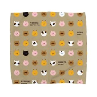 きつねこぶたぬき Towel handkerchiefs