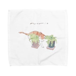 鉢植えとにゃん Towel handkerchiefs