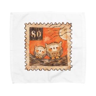 仲良しフクロウの魔法の切手 Towel handkerchiefs