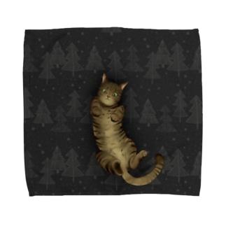 いつでも「猫と」一緒/グレー Towel handkerchiefs