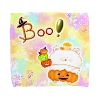 どるちぇ*うさぎの《ハロウィン》06*かぼちゃパンツのしろくま*パステル背景ver. Towel handkerchiefs