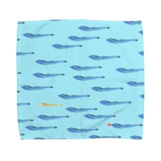 青にぼ魚群Lサイズタオル Towel handkerchiefs