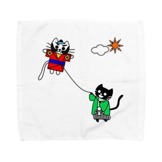 たまとクロの凧揚げ Towel handkerchiefs