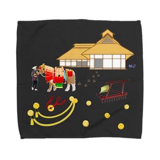 チャグチャグ馬コと曲り屋 タオルL Towel handkerchiefs