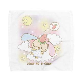 うさぎのうーちゃん(おやすみ・タイトル有) Towel handkerchiefs
