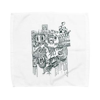 ヒヨコ(モノクロ) Towel handkerchiefs