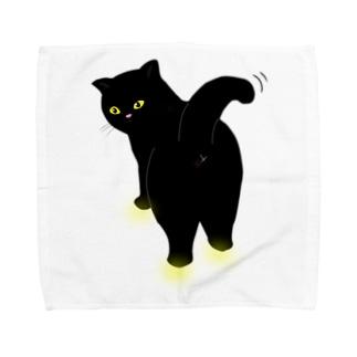 振り返るニャンコ2 クロネコバージョン Towel handkerchiefs