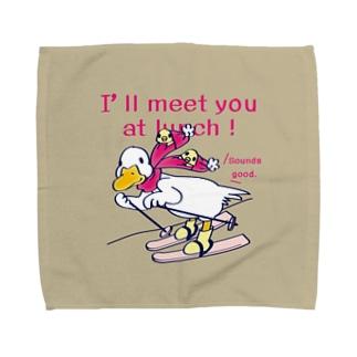 CT75あひるのおひるさんのスキーB*ブラウン Towel handkerchiefs