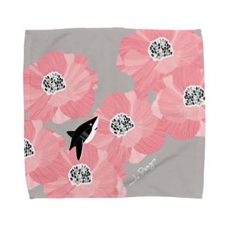 サメと花 Towel handkerchiefs