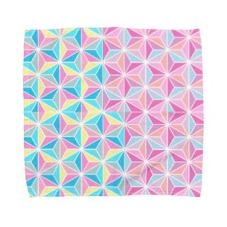 麻の葉・二色・重ね Towel handkerchiefs
