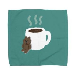 コーヒーとねむりくま Towel handkerchiefs
