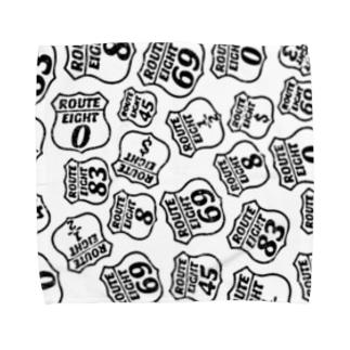 道路標識 クラッシュロゴ ブラック Towel handkerchiefs