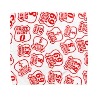 道路標識 クラッシュロゴ レッド Towel handkerchiefs