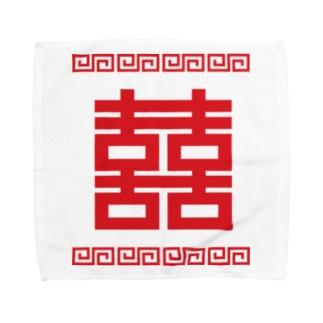 双喜紋(喜喜)幸福のシンボル【赤】 Towel handkerchiefs