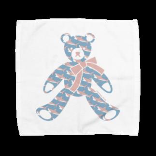 イラストレーター さかたようこの〈 #みんなSAME 009/365 〉テディベア好きのためのSAME Towel handkerchiefs