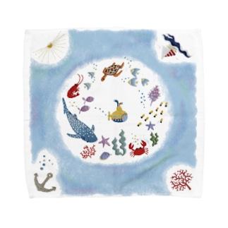 海の刺繍 Towel handkerchiefs