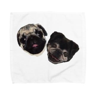 パグのダンボちゃん&グッちゃん Towel handkerchiefs