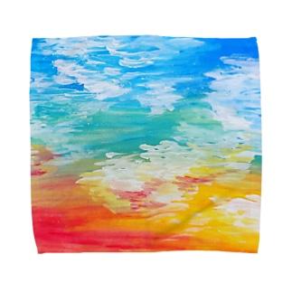 彩りの手刺繍人の祈りのカノン Towel handkerchiefs