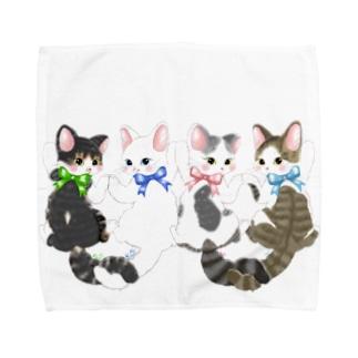 リボンねこちゃん Towel handkerchiefs