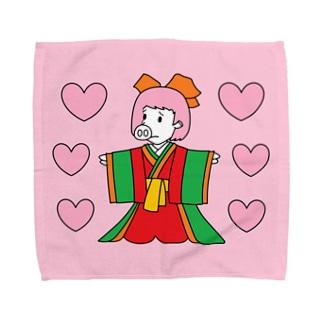 ジュウニヒトンエ(十二単豚衣)withハート!!(ハンカチ版) Towel handkerchiefs